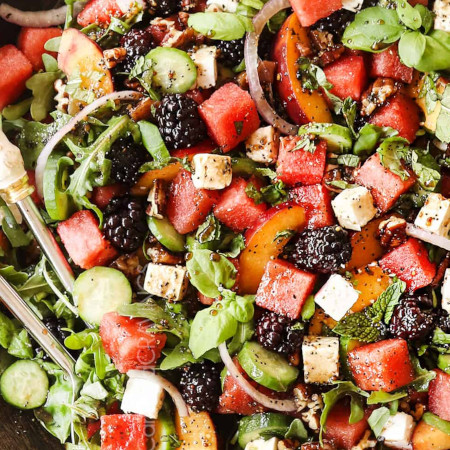 Watermelon Salad with Feta, Basil and Mint